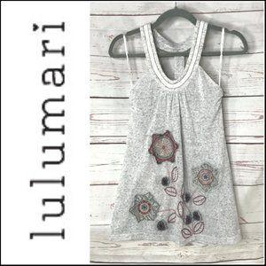 *3/$18*Lulumari Embroidered Gray Tank Top